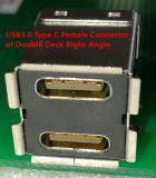 Conetor USB3.0 fêmea do C dobro do ângulo direito da plataforma + um tipo