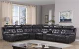 Sofà del cuoio dell'aria dell'angolo del Recliner della mobilia del salone con Cupholder nel colore nero