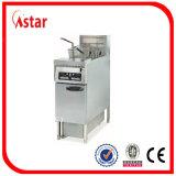 Fritador eléctrico del restaurante con el carro del filtro de aceite, freidora profesional 2 * 28 LTR de la fritada libre Equipo pesado de la cocina