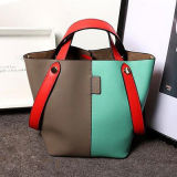 China-Lieferanten-kundenspezifische Frauen-Handtaschen-Farben-Zusammenstoß-Leder-Handtasche Emg4760