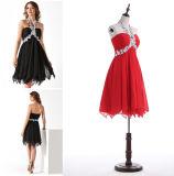 A - linha/vestido baile de finalistas da princesa Cabeçada Garganta Joelho-Comprimento Chiffon com perolização de Appliques
