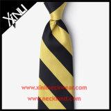 Laço amarelo da seda de 100% e preto tecido jacquard da garganta para homens