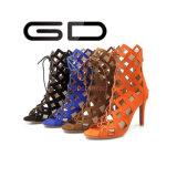 Цвет лета новой модели чисто шнурует вверх полые сандалии для женщин