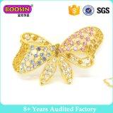 Broche de Pin de mariposa de cristal de metal de oro personalizado para mujer