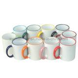tazze di caffè di ceramica di sublimazione 11oz con colore Rim&Handle