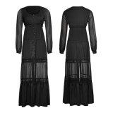 Das luvas completas encantadoras do estilo do vintage do traje de Py-192 Lolita vestido longo do laço