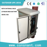 UPS en línea al aire libre de 48VDC 1kVA con la batería 50A del hierro del litio