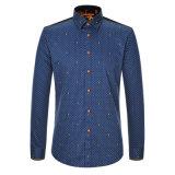 Camicia lunga casuale del manicotto della camicia di vestito dal cotone dei 2017 uomini della molla