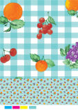 Tablecloth não tecido do PVC do revestimento protetor com projeto do vegetal e da fruta