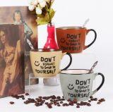 Tazas de café pintadas a mano de la fábrica al por mayor de Liling con la cuchara
