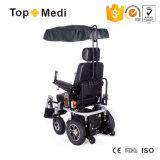 Fauteuil roulant d'énergie électrique de mise à niveau de Topmedi avec le support de téléphone de cuvette de tente