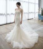 Платье цвета слоновой кости венчания Mermaid типа Кореи белое без бретелек с длинней вуалью