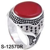 Nuovo anello dei monili dell'argento di disegno con l'agata naturale
