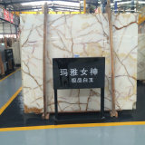 Primera calidad Mellow y Full White Onyx Marble Slab Mezcla Brown Disorderly Lines