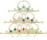 Headband da coroa da tiara do tom da prata do Rhinestone do falso do casamento da mulher