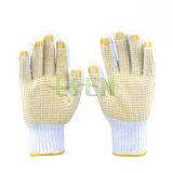 Большинств популярная желтая перчатка хлопка МНОГОТОЧИЯ 26cm поставленная точки PVC работая
