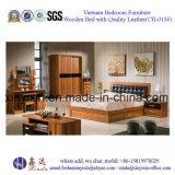 Muebles caseros del dormitorio de los muebles del hotel de los muebles con el cuero (SH-012#)