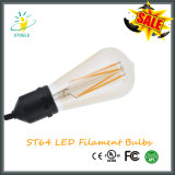 Type d'or de nostalgique d'ampoule de filament de Dimmable DEL de couleur de St64 8W