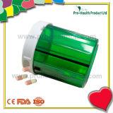 Contenitore della capsula della pillola di figura rotonda dei 4 scompartimenti con il coperchio a vite