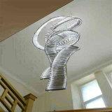 Lámpara pendiente cristalina espiral blanca europea del acero inoxidable del marco