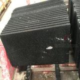 Azulejos del granito del negro oscuro con la superficie Polished, flameada y aplicada con brocha