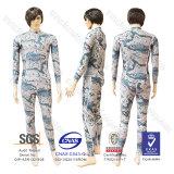 Donne UV di protezione della protezione dello Spandex di Lycra della spuma di nuotata della camicia del reticolo impetuoso del camuffamento
