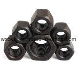 Noix Hex épaisse de tête en acier de haute résistance noire d'hexagone DIN 6330