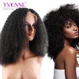 Yvonne 180% 조밀도 아프로 흑인 여성 브라질 Virgin 머리 자연적인 색깔을%s 꼬부라진 레이스 정면 사람의 모발 가발은 출하를 해방한다