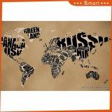Карта мира сделанного картины пем напечатанной Inkjet для домашнего украшения