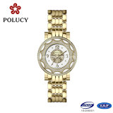 Montre de luxe d'acier inoxydable de mode de pleine d'or vente en gros dernier cri de montre