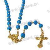 De snelle Halsband van de Rozentuin van het Glas van de Verkoop Gouden met het Kruis van het Kruisbeeld