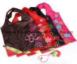 Saco de compras reutilizável dobrável de nylon personalizado promocional personalizado