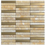 Acero inoxidable mezclado del mosaico del mármol del azulejo de mosaico del material de construcción (FYSM012)