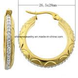 Gouden Oorring Van uitstekende kwaliteit van het Plateren van de Prijs van de Juwelen van Shineme de Goede met CZ