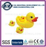 Anatra di gomma gialla di galleggiamento promozionale del vinile per il bagno del bambino