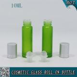 알루미늄 모자와 유리 롤러를 가진 병에 10ml 녹색 착색된 유리제 롤