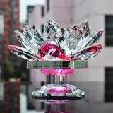 Sostenedor de vela del loto del vidrio cristalino para la decoración casera de la boda