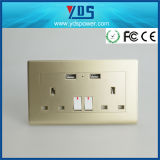 socket de pared BRITÁNICO del USB del doble de oro de 5V 2.1A