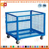Gaiola Stackable industrial do armazenamento do engranzamento de fio de aço com rodas (Zhra23)