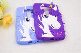 Cas bouclé de téléphone mobile de silicones de cheval d'oreilles de klaxon de coeur (XSDW-011)