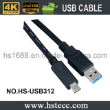 USB chapeado ouro 3.1 um macho ao cabo do macho de C