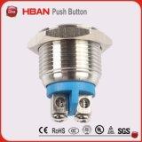 Interruptor momentáneo impermeable del restablecimiento del botón