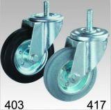 Schwarzer industrieller Gummischwenker-Schraubverschluss- Fußrolle