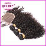 O cabelo humano Curly profundamente Kinky natural de 3 pacotes da cor tece com fechamento do laço