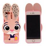 Caja animal loca del teléfono móvil del conejo TPU de Judy de la ciudad con los oídos del diamante (XSDD-040)