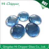 Piqûre en verre bleu-clair d'incendie de pierre gemme