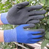 柔らかい泡乳液の塗られた手袋の女性園芸作業手袋