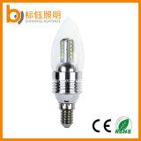 Lâmpada leve do bulbo do diodo emissor de luz do diodo emissor de luz E27/E14 3W da vela plástica de alumínio energy-saving