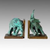 Het dierlijke Beeldhouwwerk Olifant Verlaten Bookrack die van het Brons het Standbeeld van het Messing Deco tpal-142A snijdt