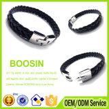 Kundenspezifischer Großhandelsmens-umsponnenes breites Leerzeichen-Charme-Leder-Armband